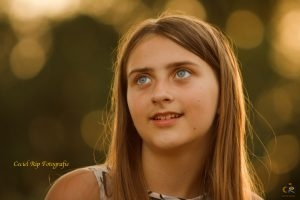 Blauwe ogen en het gouden licht van het Golden Hour